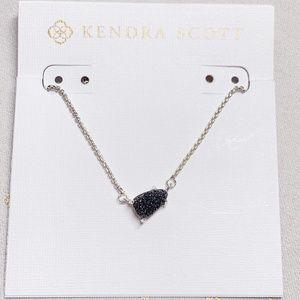 New Kendra Scott Silver Black Drusy Helga Necklace